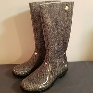 79ed7d2ad4c UGG Shoes - NEW UGG Shaye Cable Knit Rain Boots Grey Size 8
